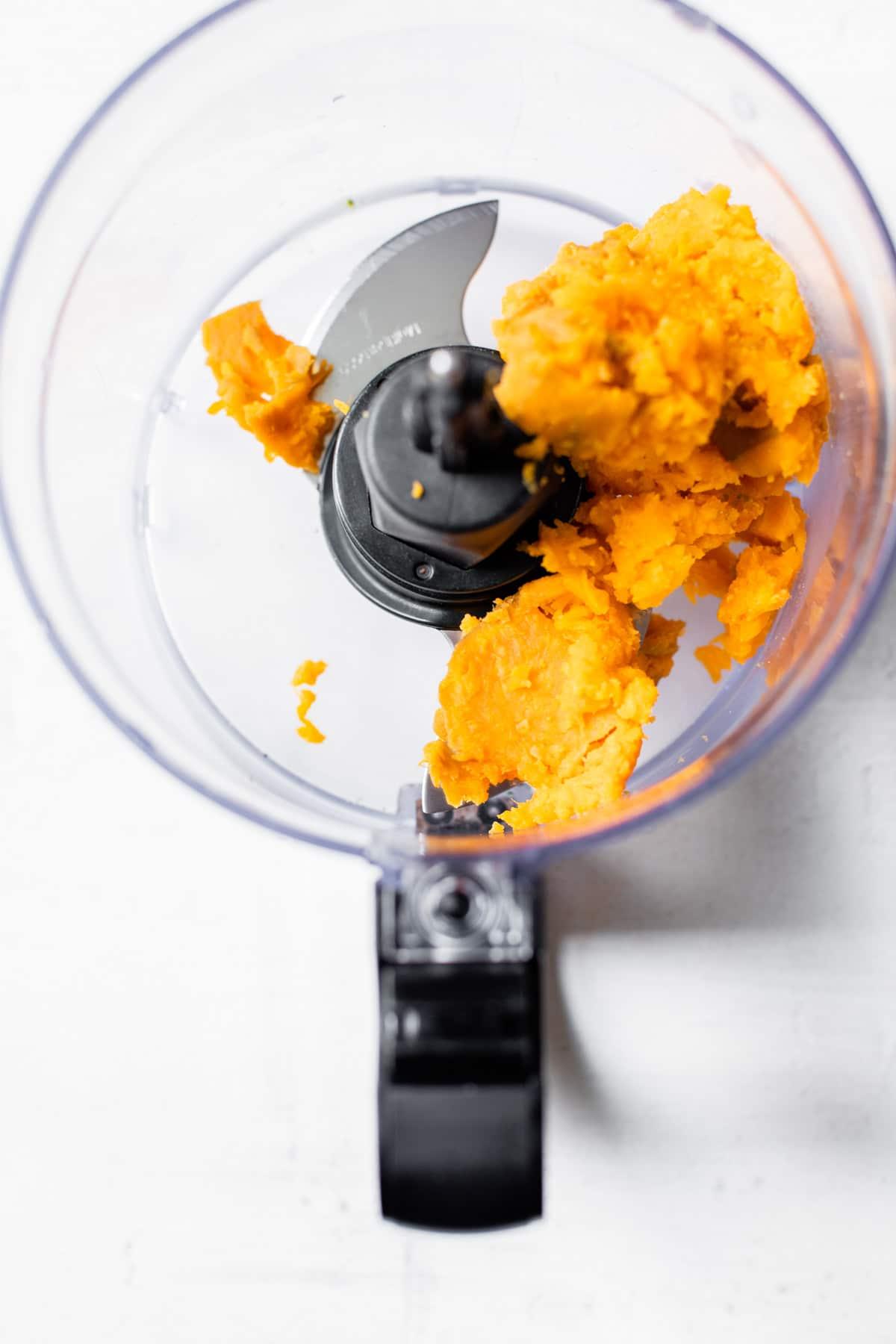sweet potato in a food processor