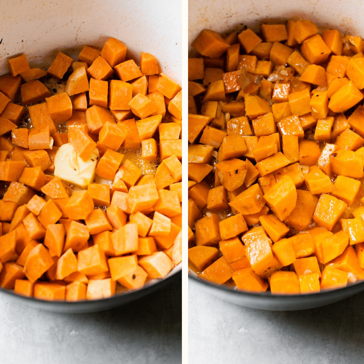 diced sweet potatoes in a dutch oven