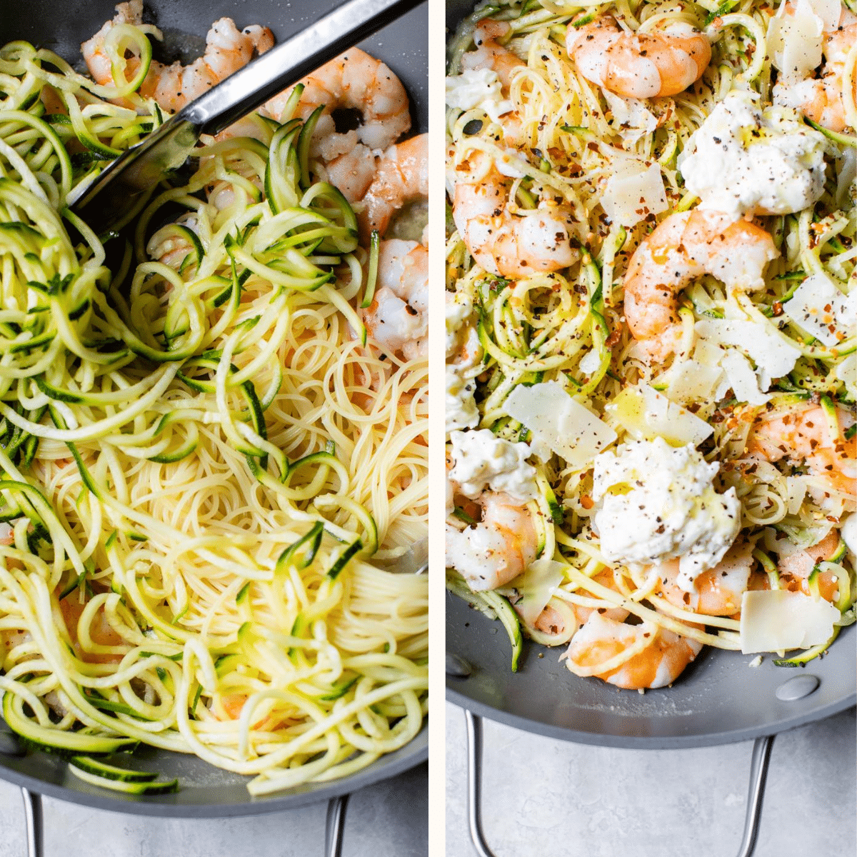 pasta and shrimp in a skillet