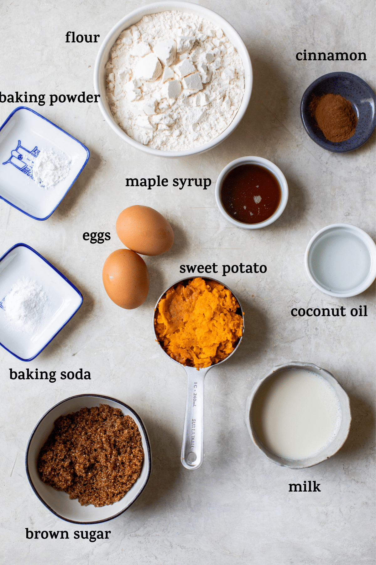muffin ingredients with text overlay