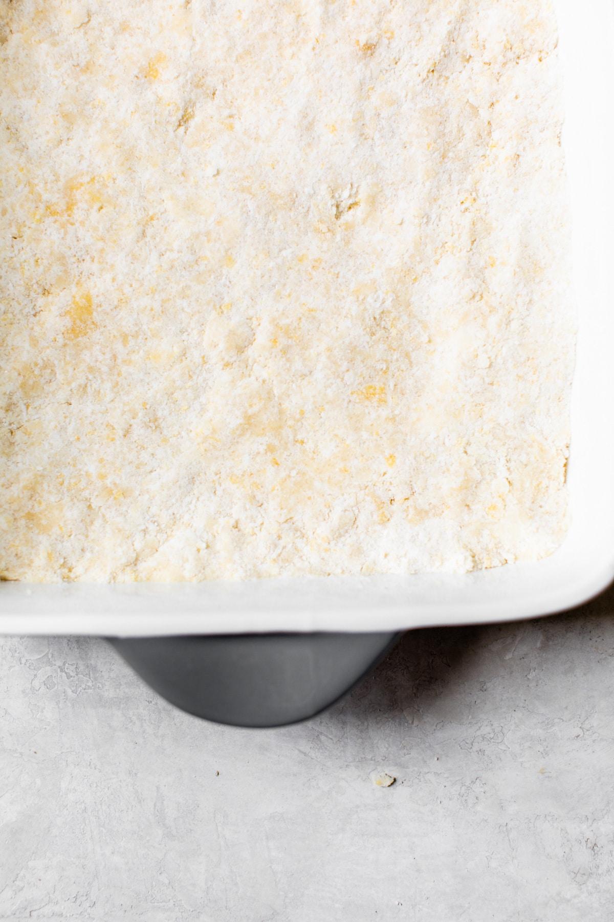 crumb bar base in a dish