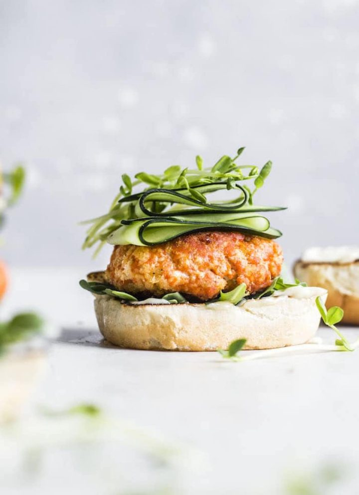 salmon burger on a bun