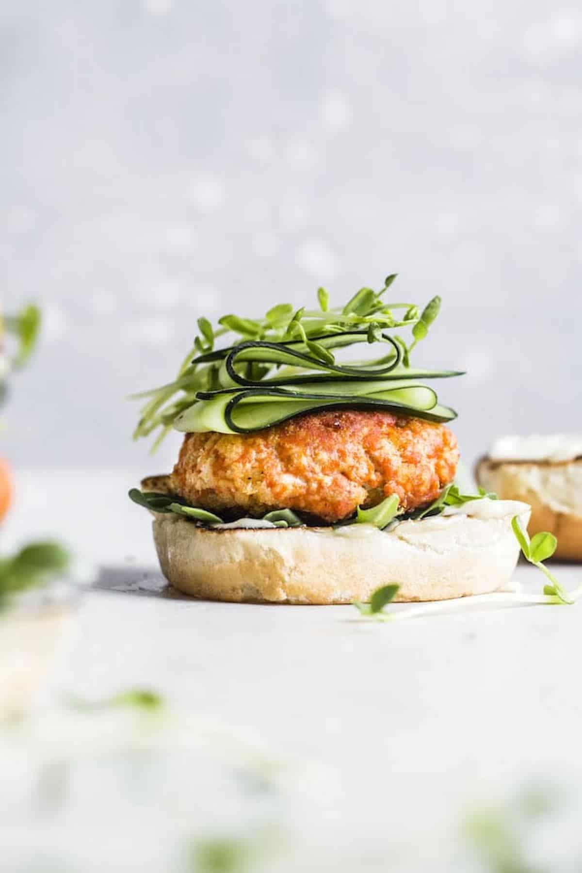 salmon burger on a bun