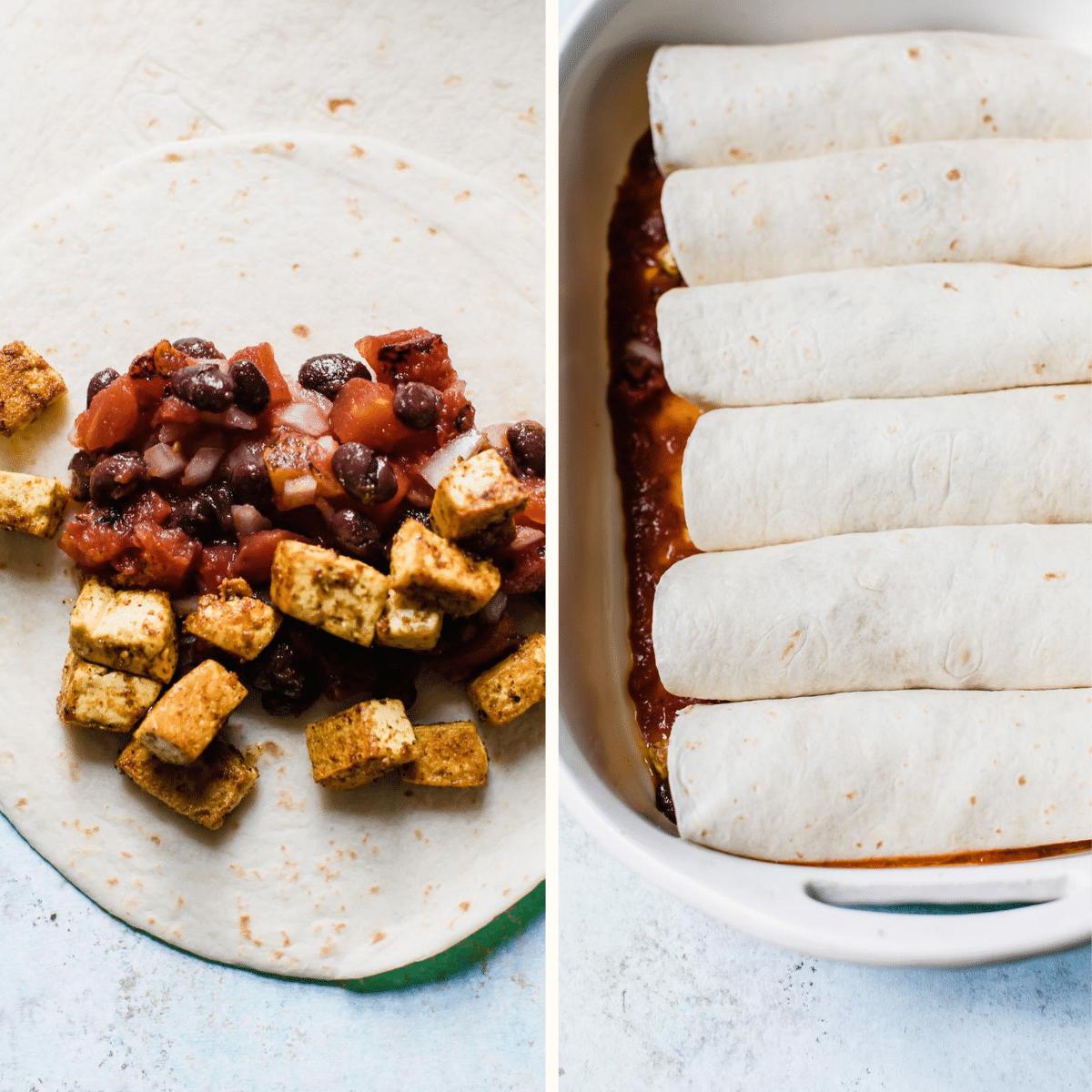 assembled enchiladas in a casserole dish