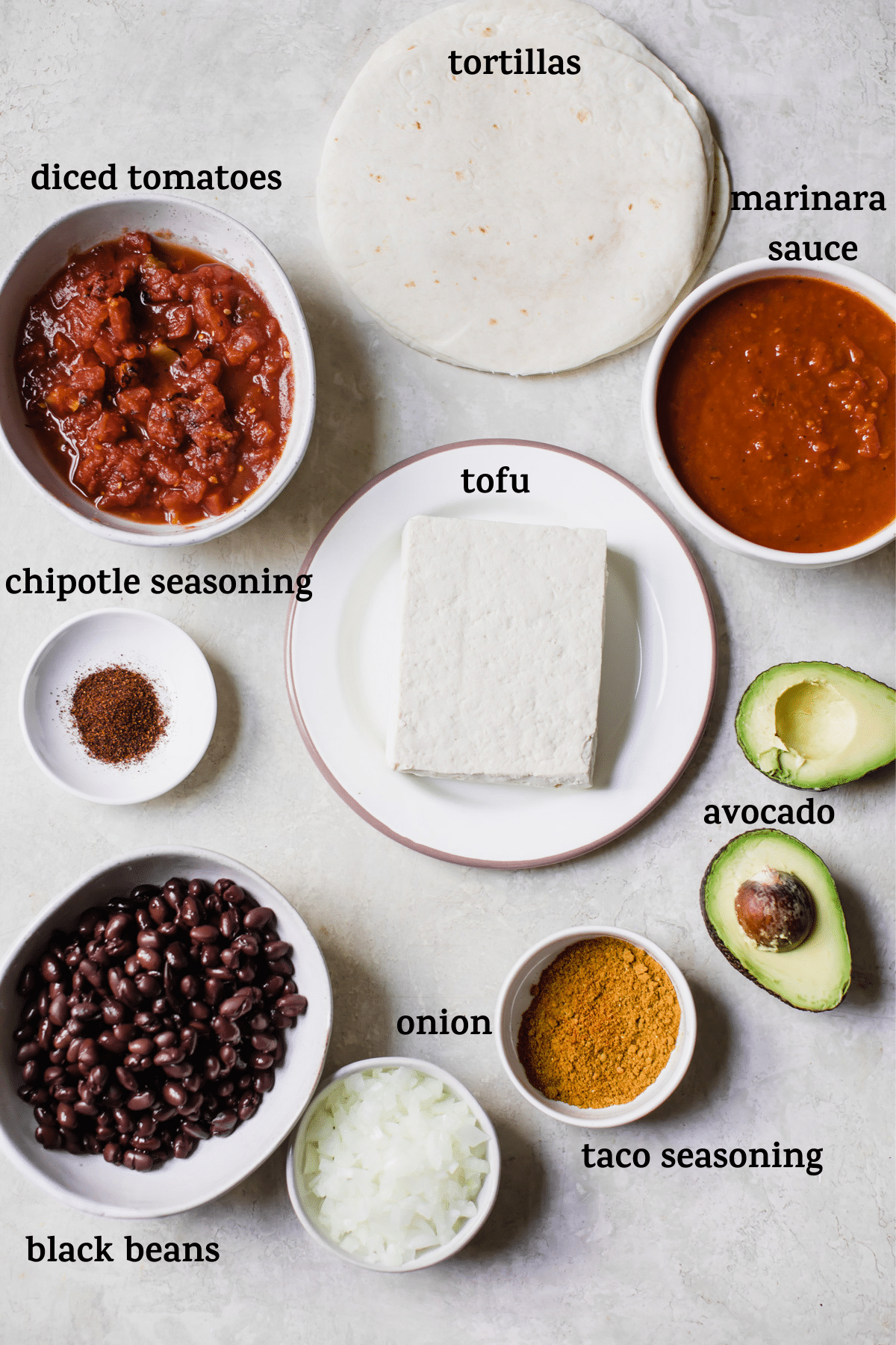 enchilada ingredients with text overlay