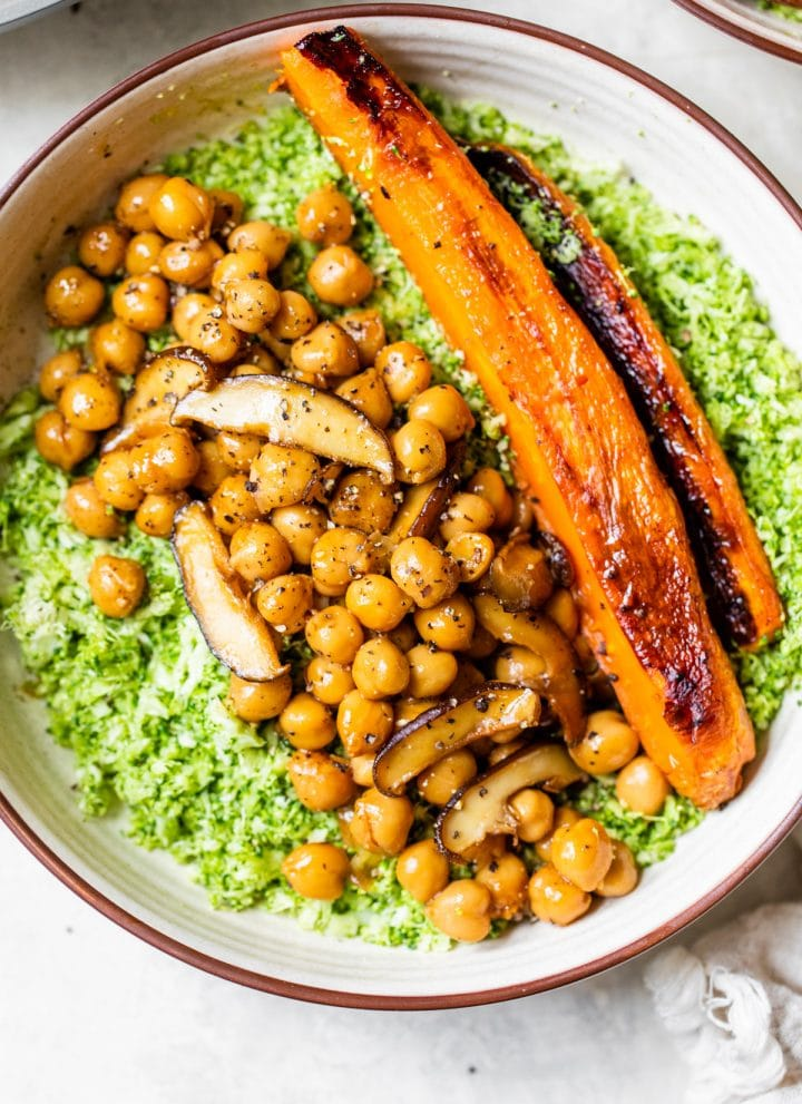 bowl of broccoli and chickpeas