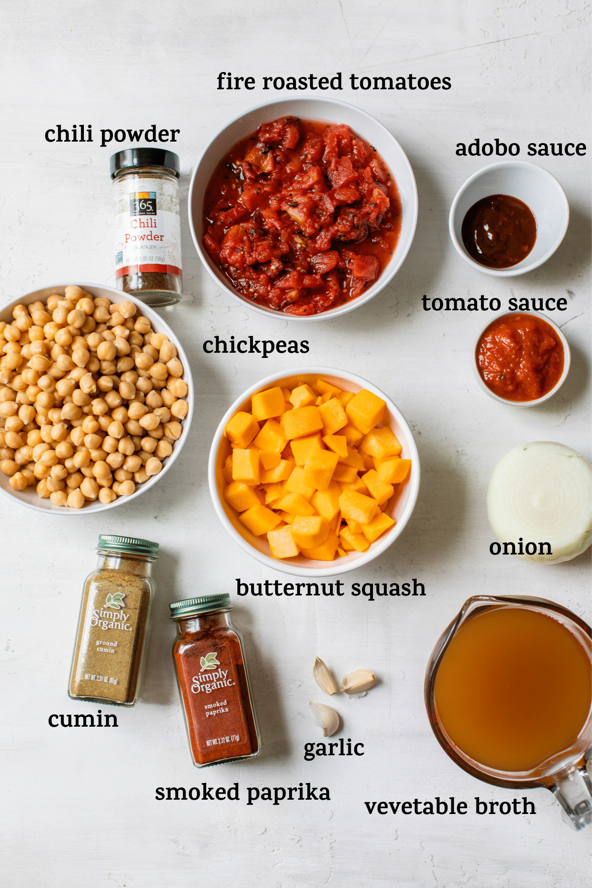 ingredients to make chili with text overlay