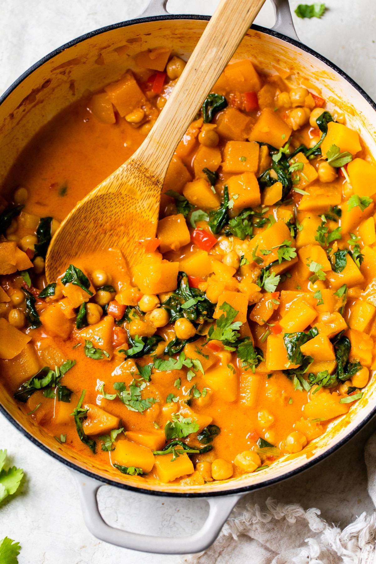 butternut squash and chickpeas in a skillet