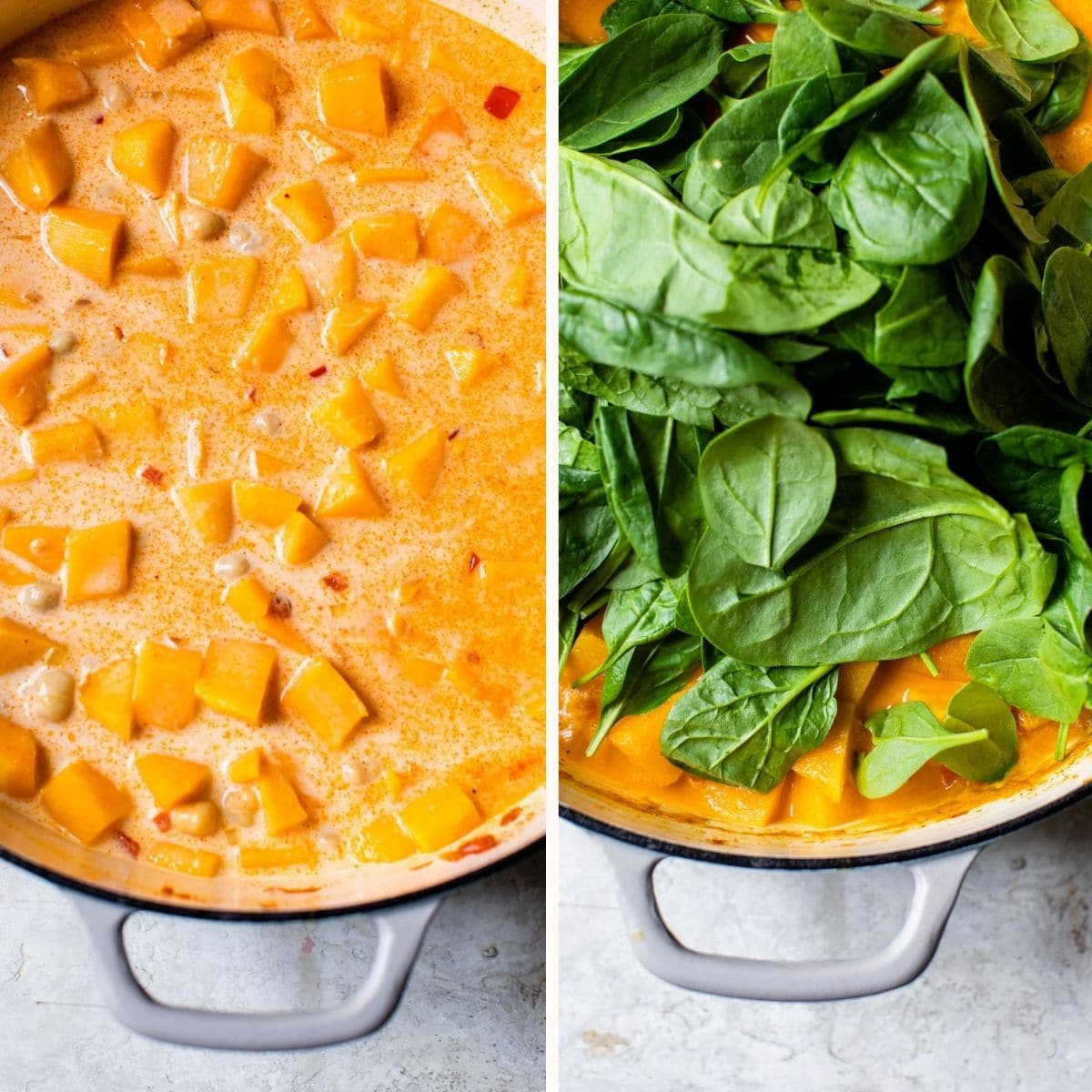 squash and spinach in a skillet