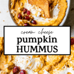 a bowl of hummus with text overlay