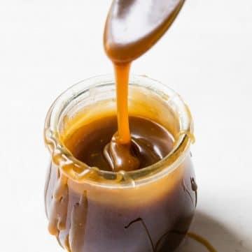 caramel sauce in a jar