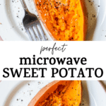 cooked potato with text overlay