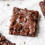 brownie on parchment paper