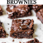 brownies on parchment paper with text overlay