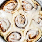 cinnamon rolls in a cake pan