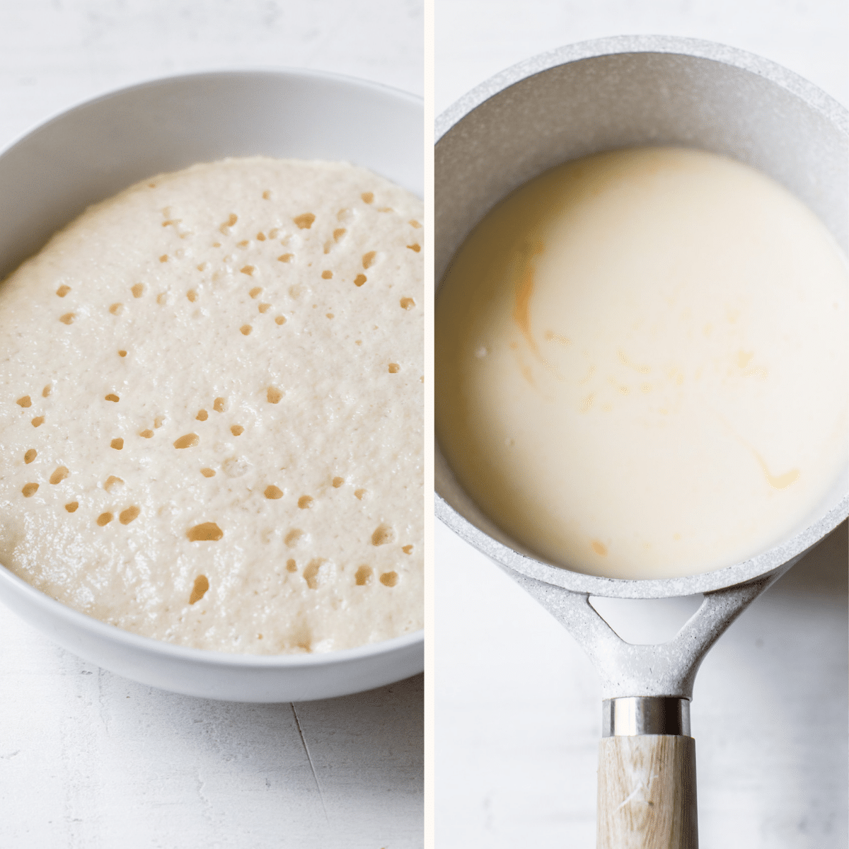 activated yeast and milk in a skillet