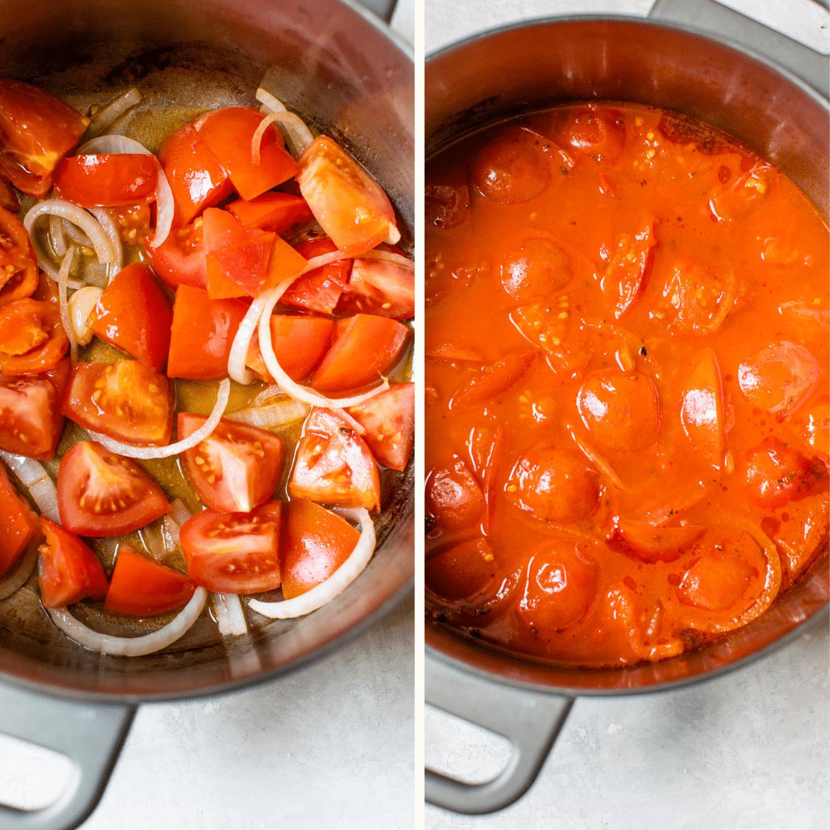 tomato soup in a saucepan