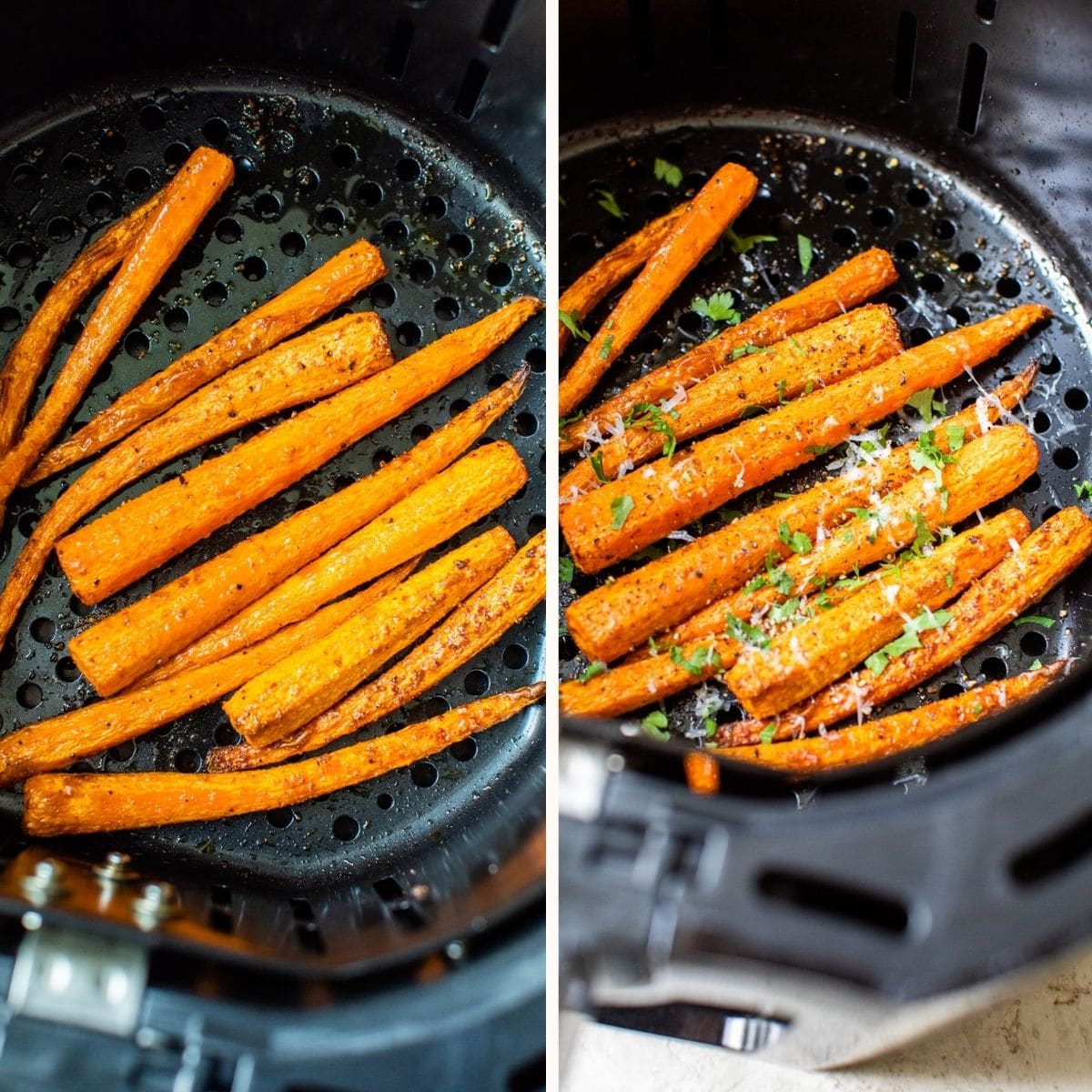 carrot sticks in an air fryer