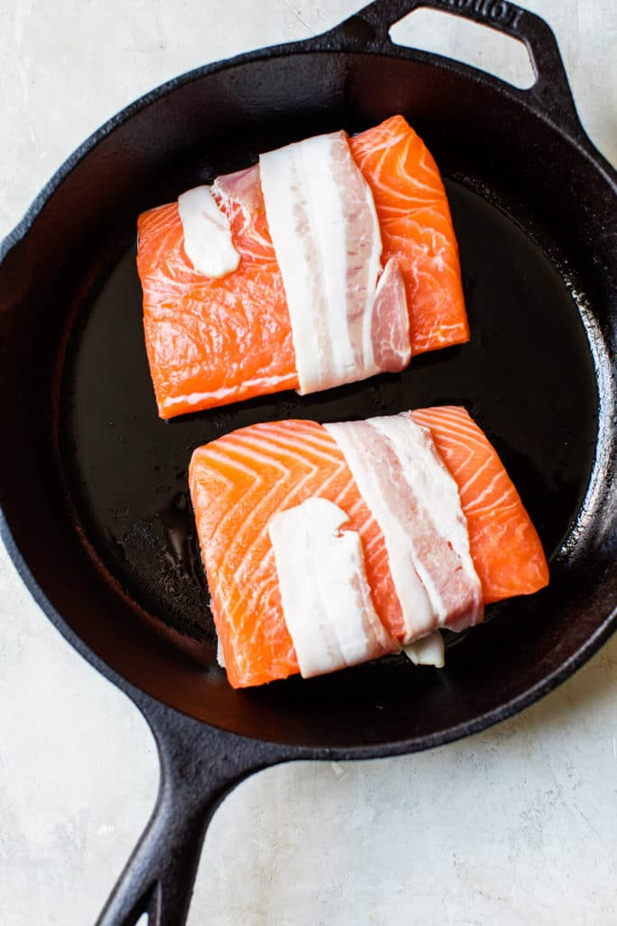 salmon fillet wrapped in bacon