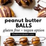 peanut butter balls with chocolate and text overlay