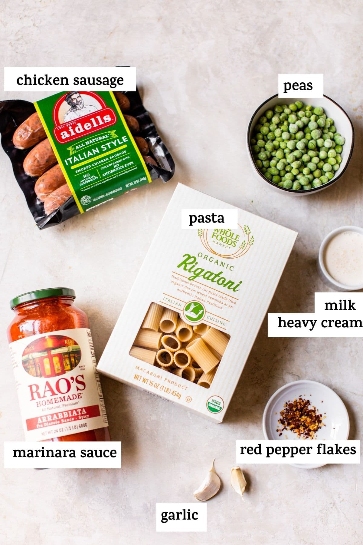 pasta ingredients on a table