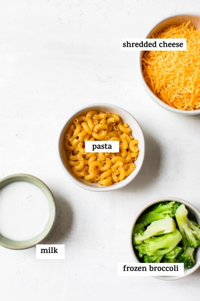 mac and cheese ingredients with text