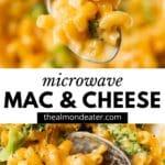 macaroni and cheese with broccoli and text overlay
