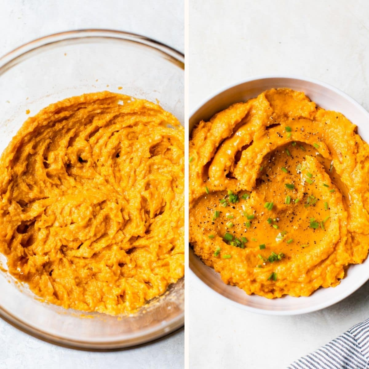 whipped sweet potatoes in a glass bowl