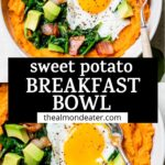 mashed sweet potatoes in a bowl with text overlay