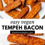 marinated tempeh on a plate with text