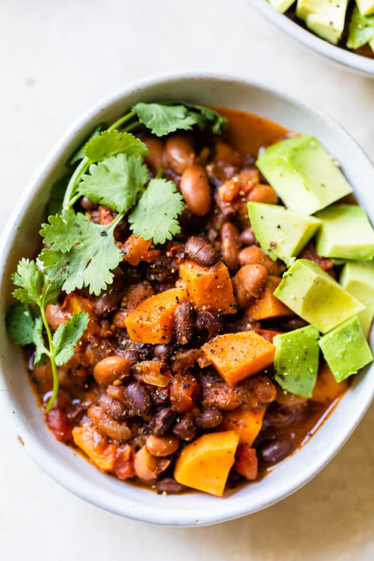 bowl of beans and sweet potatoes