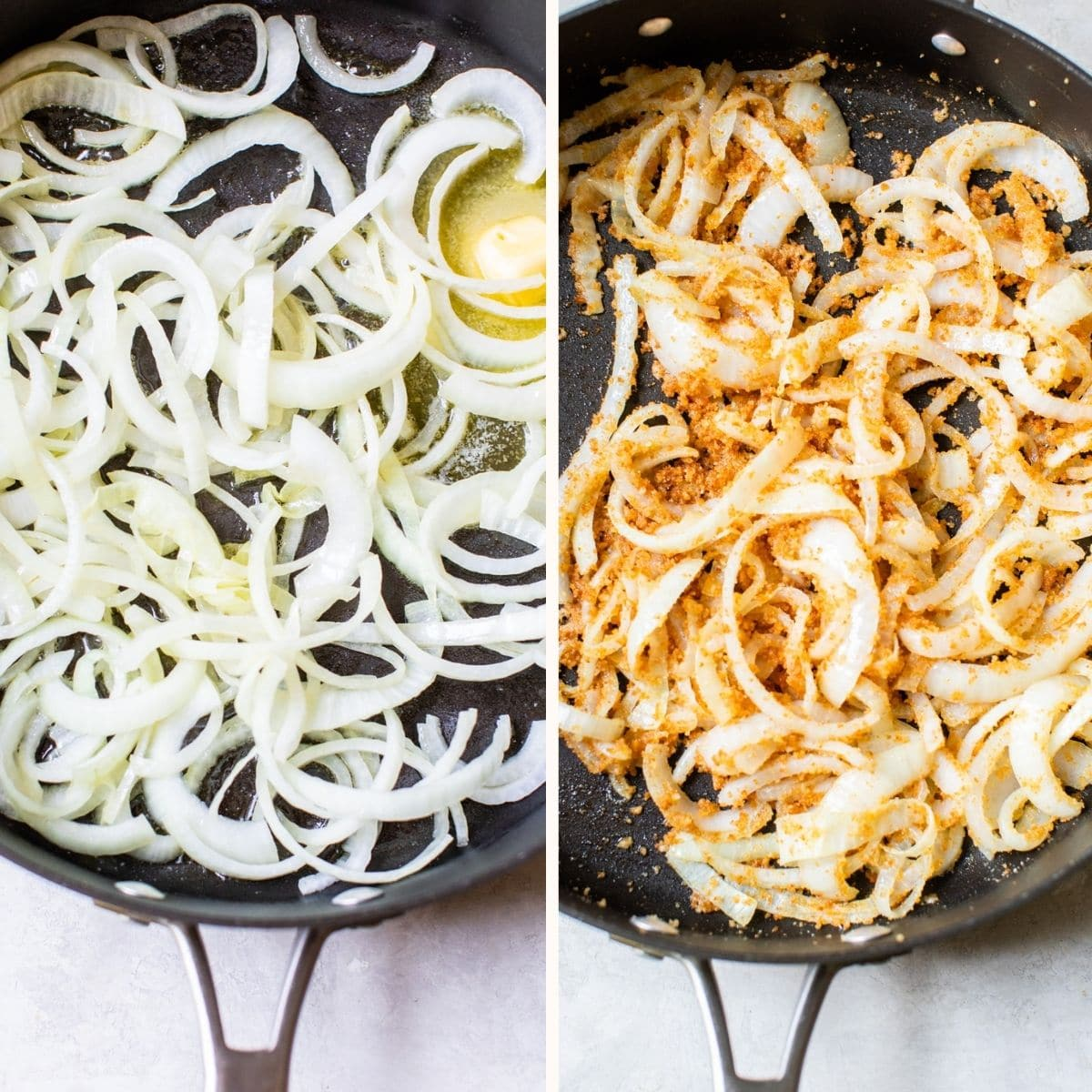 onions and breadcrumbs in a skillet