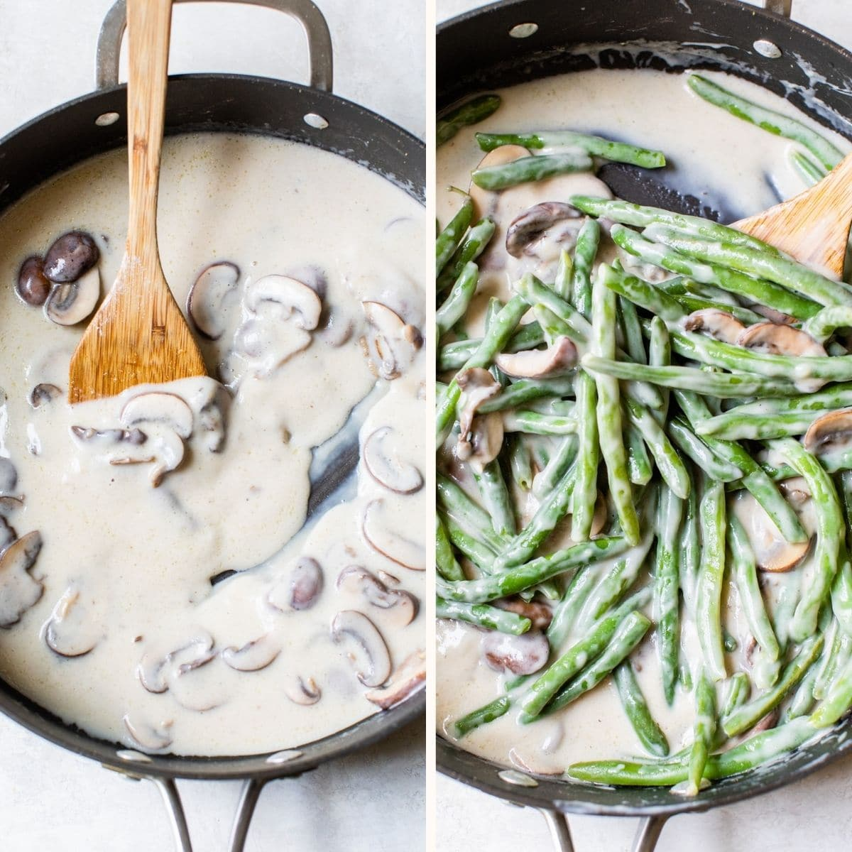 green beans in a skillet with mushrooms and a cream sauce