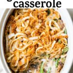 casserole dish with beans and onions