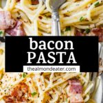 pasta with bacon and text overlay