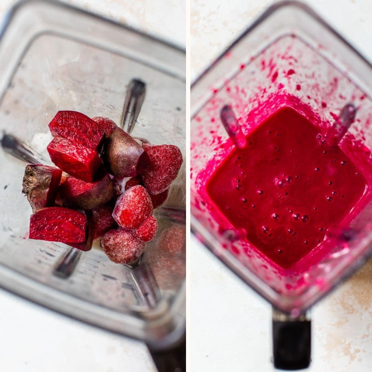 hot pink smoothie in a blender