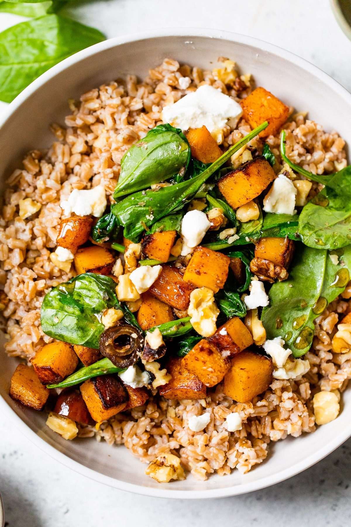 grains in a bowl topped with spinach and squash