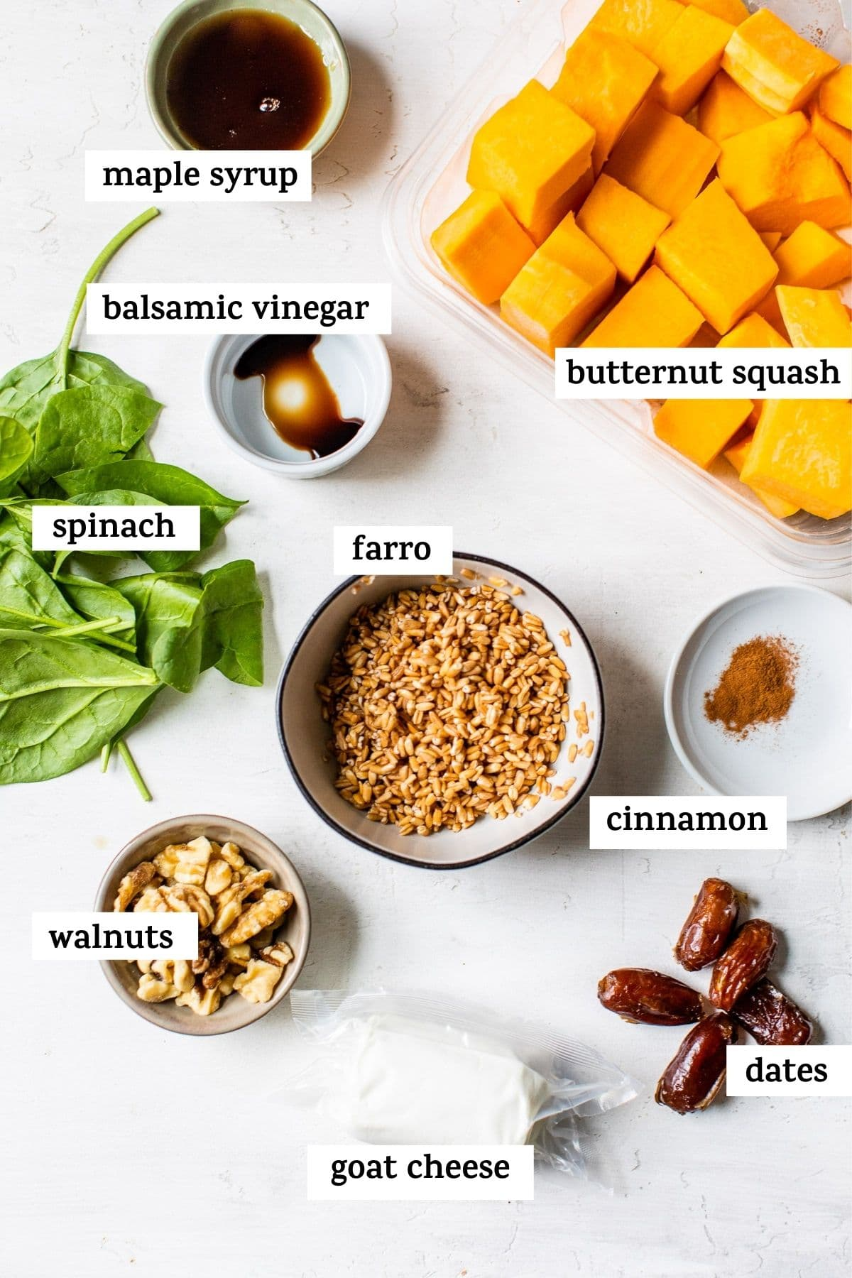 ingredients in bowls with text over top