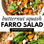 farro in a bowl with text overlay