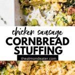 cornbread stuffing with text overlay