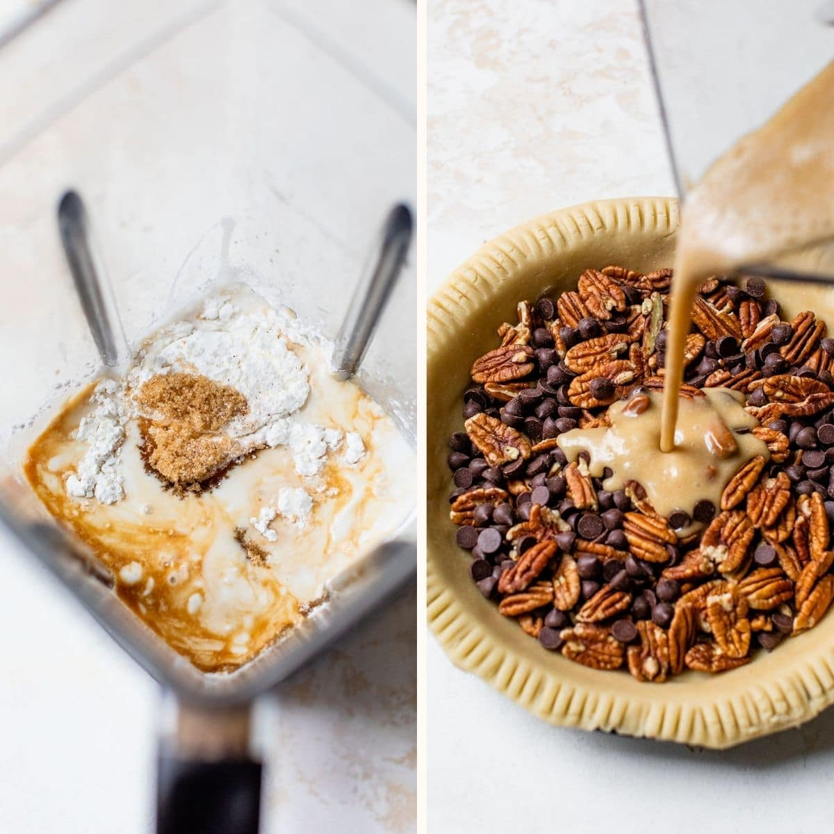 pie filling being poured over top of pecans and chocolate chips