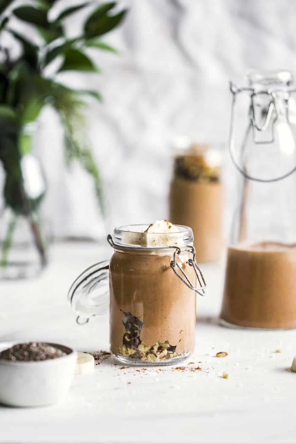 chocolate smoothie in a jar