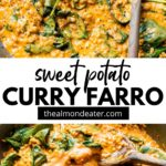 farro, sweet potato and spinach in a skillet