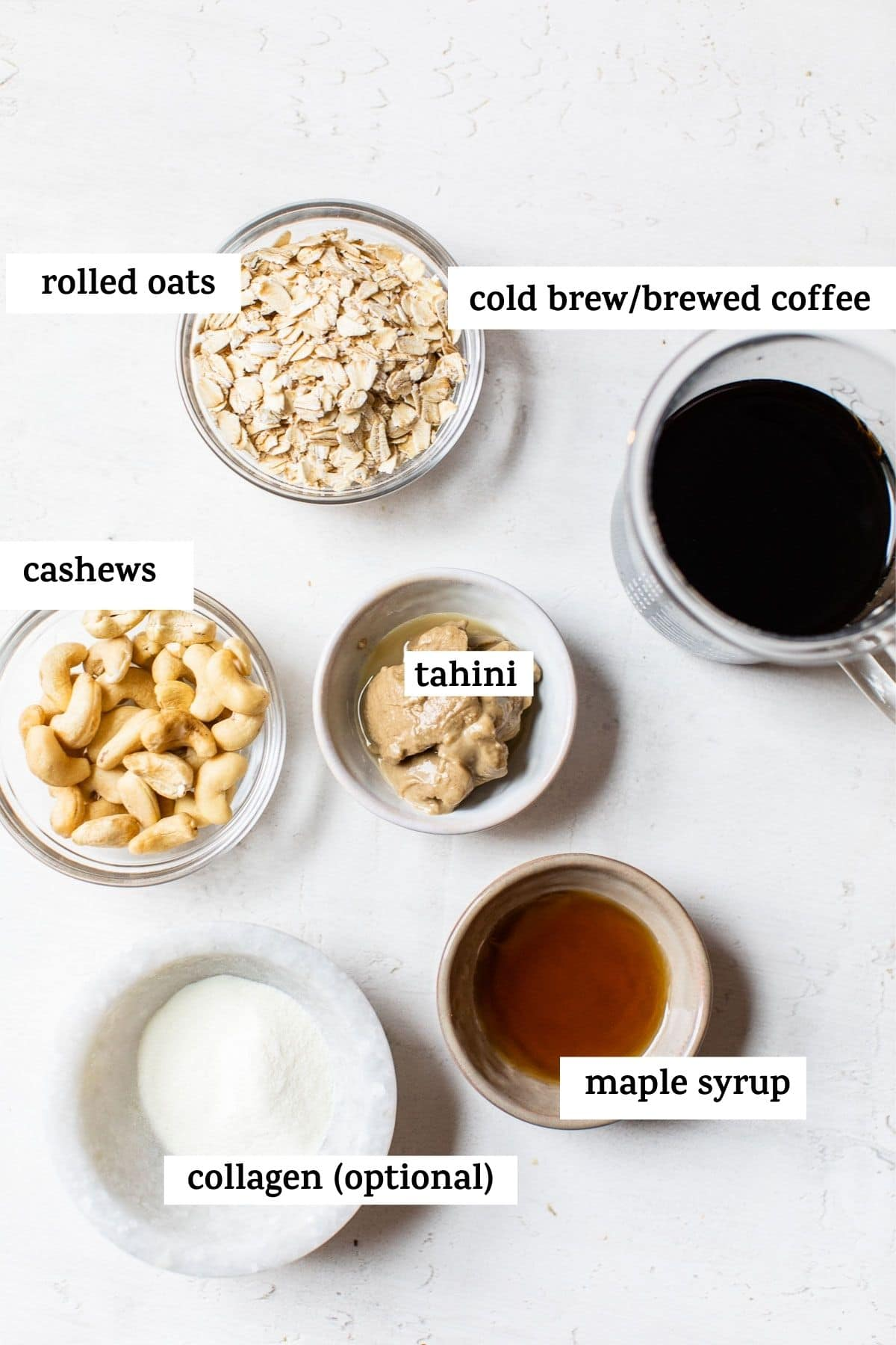 ingredients in small bowls with text
