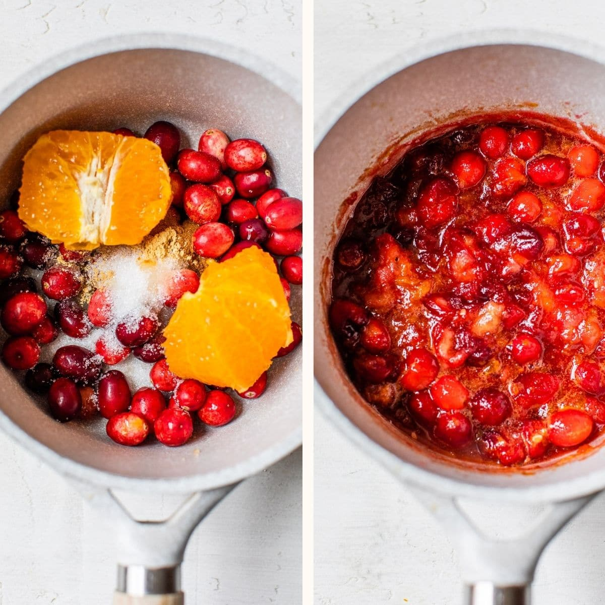 cranberry compote in a saucepan