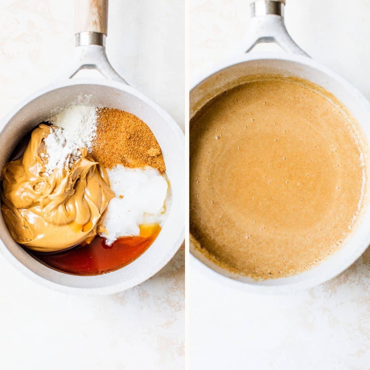 peanut butter in a saucepan