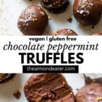 chocolate truffles with text overlay