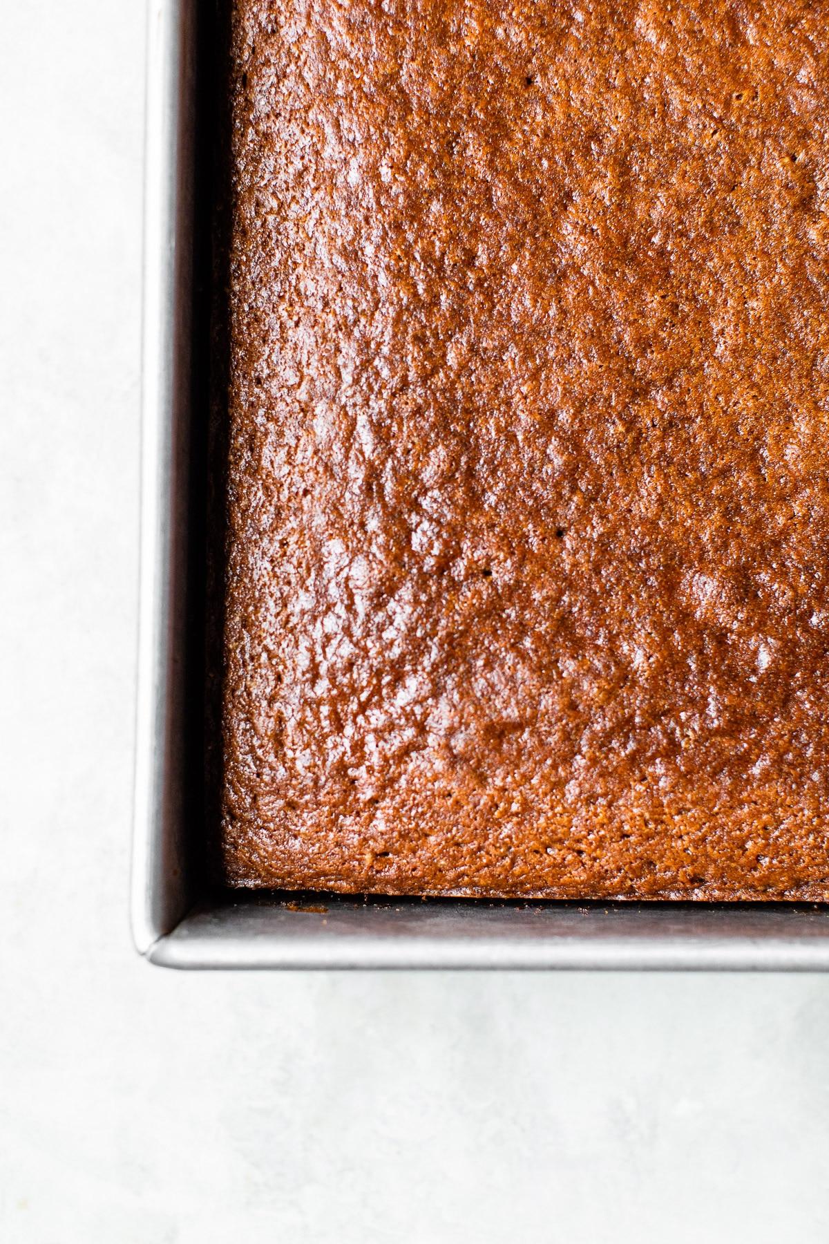 square cake in a cake pan