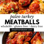meatballs in a skillet with text over top