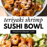 sushi bowl with shrimp and text over top